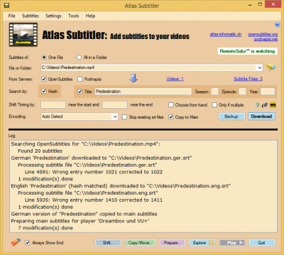 Atlas Subtitler 3.4.0.0 screenshot