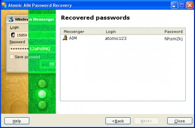 Atomic AIM Password Recovery 1.10 screenshot
