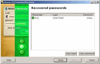 Atomic ICQ Password Recovery 1.10 screenshot