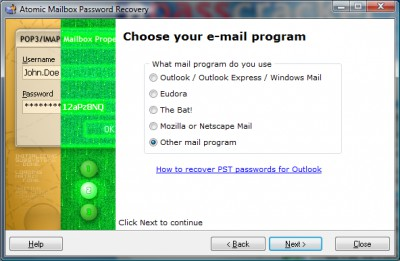 Atomic Mailbox Password Recovery 2.90 screenshot