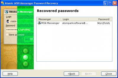 Atomic MSN Password Recovery 1.11 screenshot