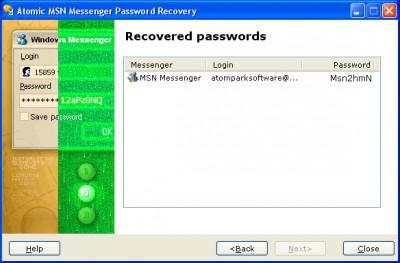Atomic MSN Password Recovery 1.11 screenshot