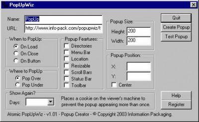 Atomic Popup Wizard 1.01 screenshot