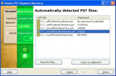 Atomic Pst Password Recovery 2.1 screenshot