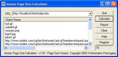 Atomic WebPage Size Calculator 1.05 screenshot