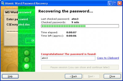 Atomic Word Password Recovery 1.50 screenshot