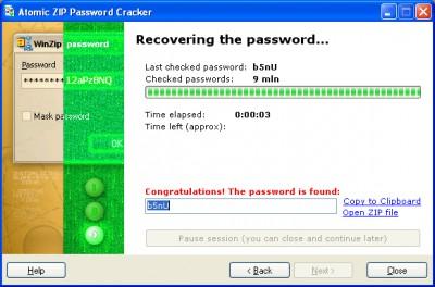 Atomic ZIP Password Recovery 2.70 screenshot