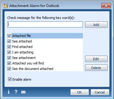 Attachment Alarm for Microsoft Outlook 2.5.0 screenshot