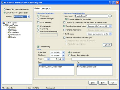 Attachment Extractor for Outlook Express 1.5.2 screenshot