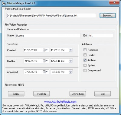 AttributeMagic Free! 2.4 screenshot