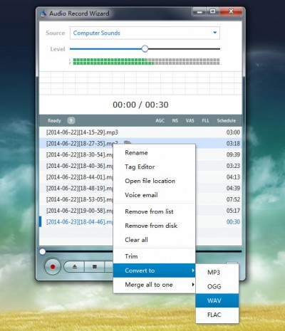 Audio Record Wizard 7.21 screenshot