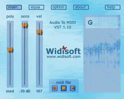 Audio To MIDI VST (MAC) 1.10 screenshot