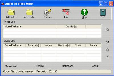Audio To Video Mixer 3.2.1.4 screenshot