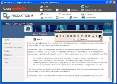 Auora Website 5.1.2 screenshot