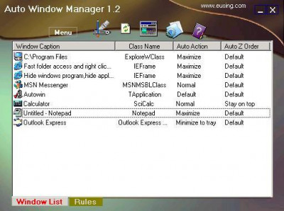 Auto Window Manager 1.5 screenshot