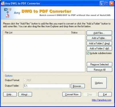 AutoCAD DWG to PDF 2010 screenshot