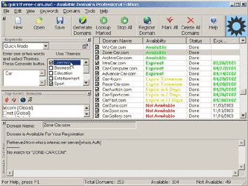 Available Domains Professional Edition 3.717 screenshot