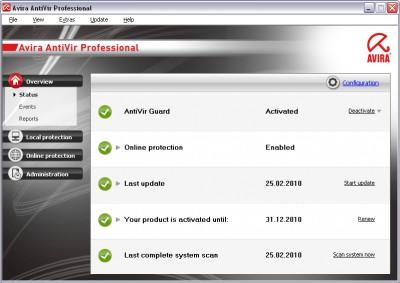 Avira AntiVir Professional 10.2.0.105 screenshot