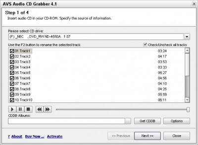 AVS Audio CD Grabber 4.1.1.194 screenshot