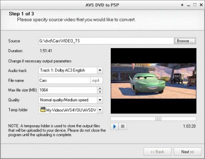 AVS DVD to PSP 1.5.1.82 screenshot