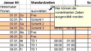 AZEME Arbeitszeiterfassung mit Excel 2.10a screenshot
