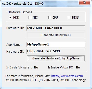 AzSDK HardwareID DLL 5.00 screenshot