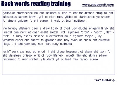 Back words free speed reading training 2.2 screenshot