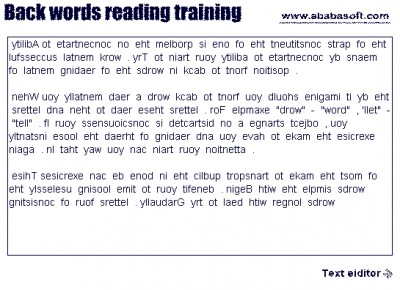 Back words free speed reading training 2.2 screenshot