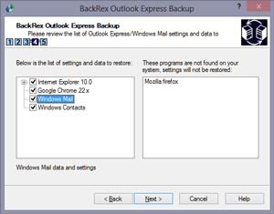 BackRex Outlook Express Backup 2.8.178 screenshot