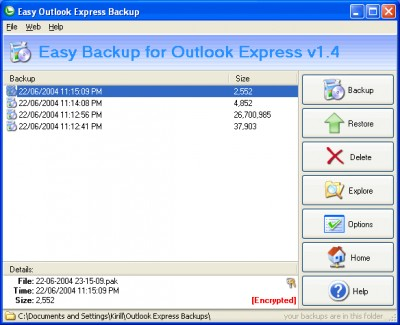 Backup for Outlook Express 2.365 screenshot