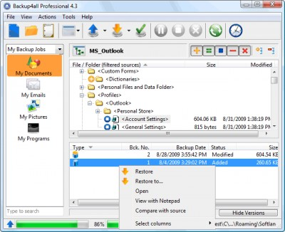Backup4all Portable 7.4.497 screenshot