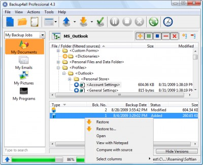 Backup4all Professional 7.1.313 screenshot