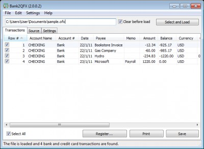 Bank2QFX 3.0.9.0 screenshot