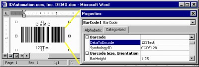 Barcode Add-in for Microsoft Office 1.3 screenshot