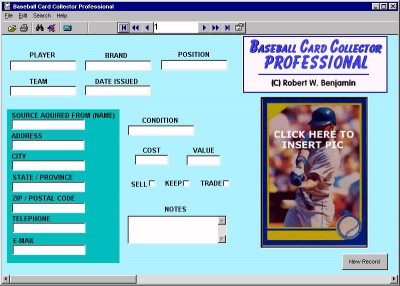 Baseball Card Collector Professional 11.0 screenshot