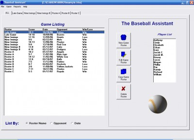 Baseball Roster Organizer 1.2.1 screenshot
