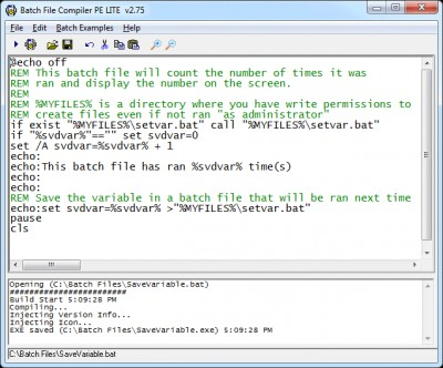 Batch File Compiler PE LITE 2.75 screenshot