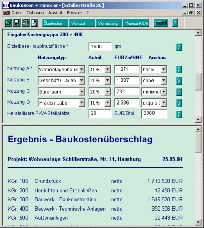 Baukosten + Honorar 2006-2 screenshot