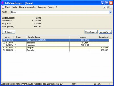 BeCyBookKeeper 2.43 screenshot