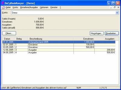 BeCyBookKeeper 2.43 screenshot
