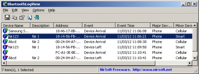 BluetoothLogView 1.12 screenshot