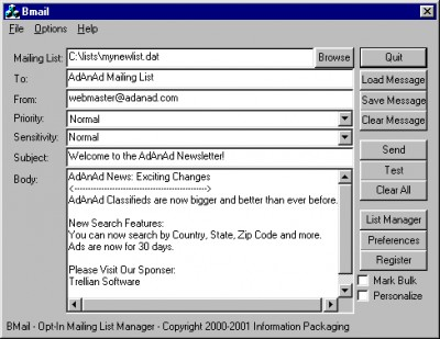 Bmail 1.05 screenshot