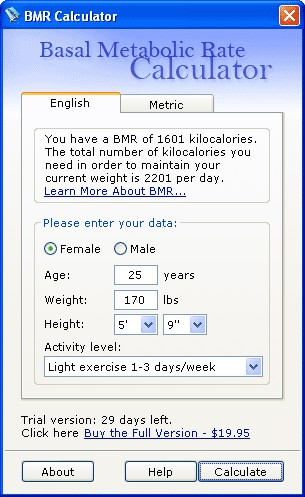 BMR (Basal Metabolic Rate) Calculator 1.0 screenshot