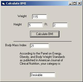 Body Mass Index Calculator 1.1 screenshot