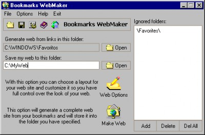 Bookmarks WebMaker 1.3 screenshot
