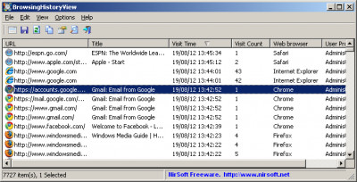 BrowsingHistoryView 2.17 screenshot