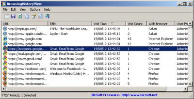 BrowsingHistoryView 2.41 screenshot