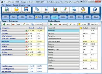 Budget Advisor 3.0.8.0 screenshot