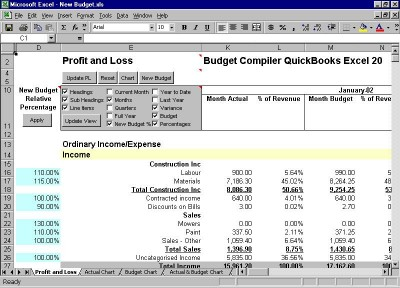 Budget Compiler QuickBooks Excel 20 screenshot