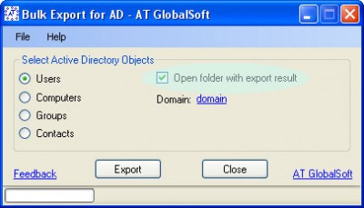 Bulk Export for Active Directory 2.6.0.0 screenshot